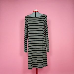 Black and Tan Striped Longsleeve Dress